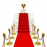 red carpet award runway up steps to trophy prize
