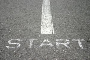 start mark at beginning of running track