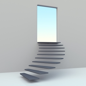 stairway leading to an open door and blue sky